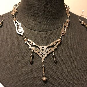Sterling silver and Hematite necklace & earrings